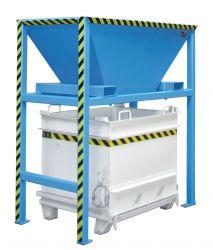 Big Bag Befülltrichter mit Standkonstruktion, Stapleraufnahme